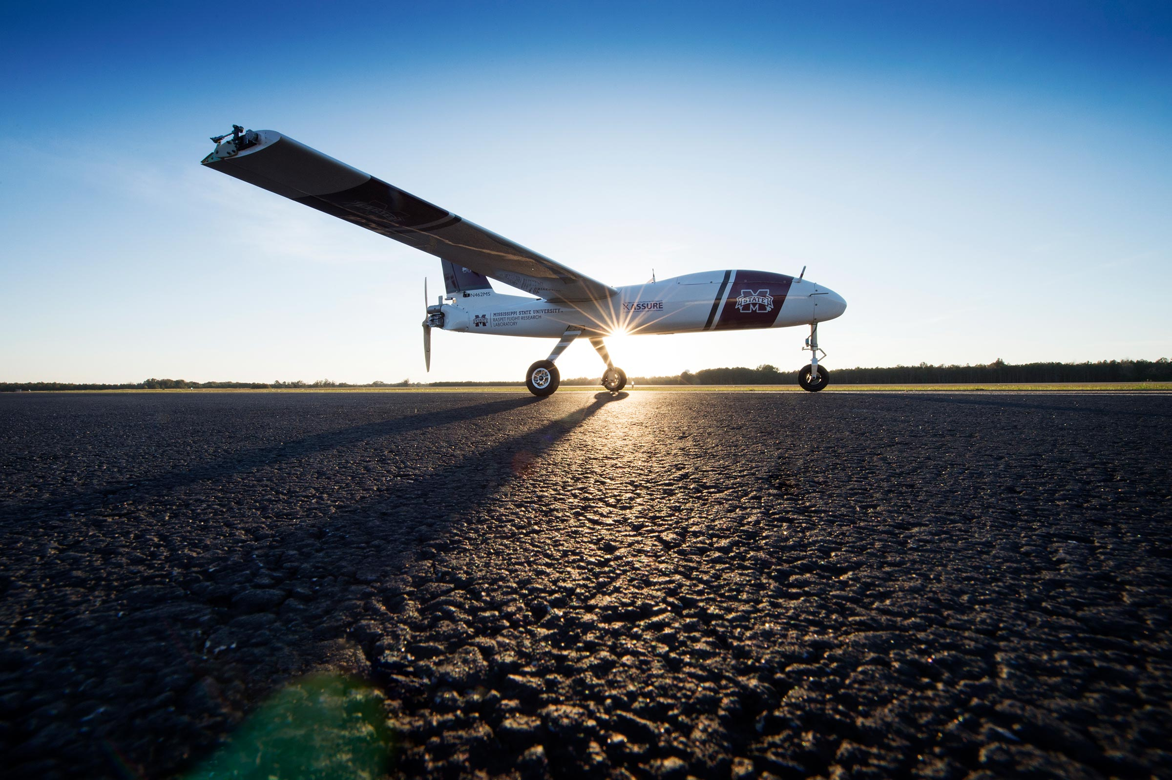 Unmanned plane with sun in background